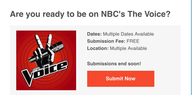 Are you ready to be on NBC's The Voice?